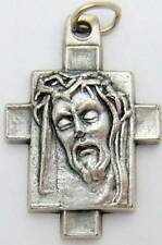 """MRT Silver Plate Metal Ecce Homo Crown Of Thorns Crucifix Cross 1"""" Gift Italy"""