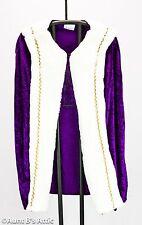Kings Cape Child's Deluxe Purple Velour & Rich White Faux Fur Purim King Cape