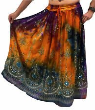 Femmes indien parti boho gypsy hippie long sequin jupe rayonne belly dance r5