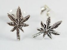 925 Sterling Silver Earring Cartilage For Women Teen Ear Stud Marijuana Pot Leaf