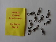 Fishing Bronze Rolling Barrel Swivels size 14mm pack of 10