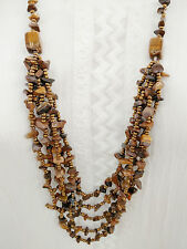 Tiger Eye Stone Beaded Strands Topaz Glass Bead Long Sweater Layered Necklace