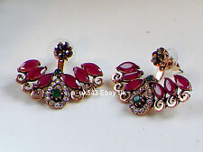 Antique Gold Earrings,Ear cuff,Ear jacket,Ear climbers,Emerald Ruby Ear Huggies