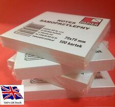 400!! WHITE POST Adhesive REMOVE STICKY NOTES 75mm x 75mm( 4 Packs of 100)