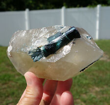 Blue Indicolite Tourmaline in Citrine Quartz DT Crystal Point All Natural RARE