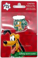 NEW Disney 2016 Christmas Mitten Pluto Dog LE 2650 Pin with No Value Gift Card