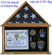 4' X 6' Flag Display Case Military Shadow Box, Display Cabinet : ( FC12-OA )