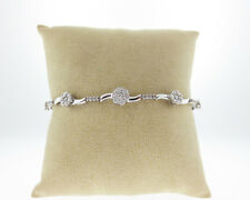 "Genuine 1.35cts Diamonds Solid 10k White Gold Flowers 7.25"" Bracelet"