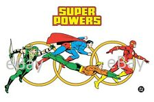 1988 Super Powers TEAM Model Art : JL Green Arrow Aquaman Superman Flash