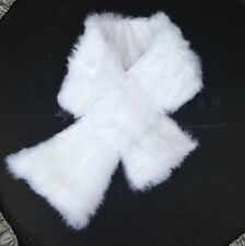 snow white real genuine rabbit fur pelt collar scarf satin lining 92cm x 16cm