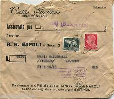 NAPOLI, ASSICURATA CREDITO IT. PER CALVENE, OTT 1940, L2,55 + C20 PERFIN CI    m