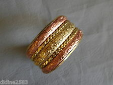 ANCIEN BRACELET JONC MANCHETTE EN CUIVRE ROSE ET LAITON BRASS COPPER CUFF BANGLE