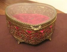 large vintage ornate heart shaped ornate gold gilded glass vanity jewelry box
