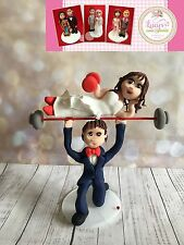Weightlifter/Weights Wedding cake topper/Bride and groom - handmade keepsake