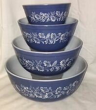 Pyrex COLONIAL MIST* ALL BLUE *4 PC ROUND MIXING BOWL SET*