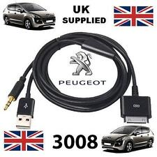 Peugeot 3008 Series 3GS 4 4s  iPhone iPod USB & 3.5mm Aux cable