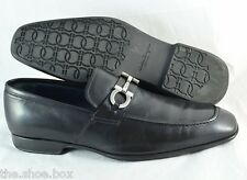 R - Men's SALVATORE FERRAGAMO 'Metrone' Leather Loafers US Size 11 - D Black