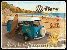 Vintage Style Retro Heavy Embossed Metal Plaque/Tin Sign - VW Surf Bus
