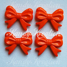 4 Orange Bow Beads 46mm for Bubblegum Necklaces Crafts Kandi Deco Bright Chunky