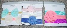 NWT Carter's  8 HAIR HEADWRAPS (ELASTIC HEADBANDS) BABY 0-6 MONTHS FLOWERS BOWS