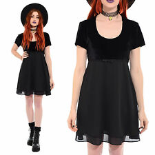 Vintage 90s Blk VELVET Kinderwhore Grunge Goth Witchy Babydoll Dolly Mini Dress