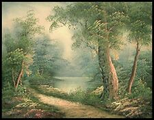 """16""""x12"""" Oil Painting on Canvas, Woodland Pathway, Hand Painted"""