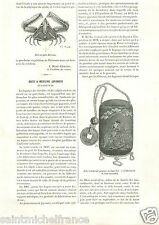 Parthenopidae Crabe/Box Medicine in Gold Lacquer Japan Japon GRAVURE PRINT 1883