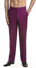 CONCITOR Men's Dress Pants Trousers Flat Front Slacks EGGPLANT PURPLE 44