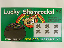 LUCKY SHAMROCKS! FAKE LOTTERY TICKET, GAG, PRANK, SCRATCHERS, INCLUDES 1 TICKET