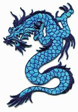 DRAGON blue/turquoise cut-out EMBROIDERED IRON-ON PATCH *Free Shipping* kung-fu