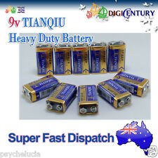 10 x Genuine TIANQIU 6F22X 9v Heavy Duty Battery Brand New 9Volts