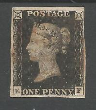 1840 PENNY BLACK  (EF) 4 MARGINS  LIGHTLY CANCELLED BY RED CROSS,SEE SCANS