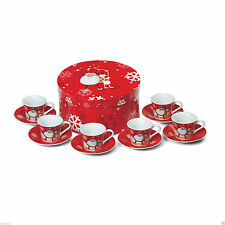 Christmas 12 piece espresso coffee set. 6 cups, 6 saucers. Comes in gift box.