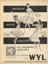 Publicité Advertising 1958  WYL sous vetement lingerie nuisette