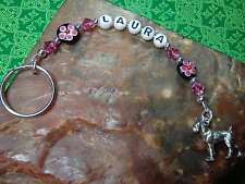 Dainty PERSONALIZED Key Ring BOXER - PINK Blk w/Swarovski Crystals Silver Tn