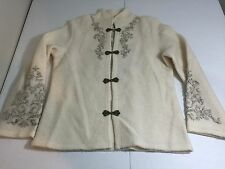 Coldwater Creek Textured Boiled Wool Sweater Coat Embroidered  SZ S Metal Clasps