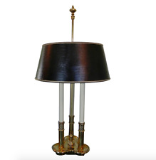 Vtg Stiffel Brass Bouillotte Candlestick Table Lamp Orig Leather Embossed Shade