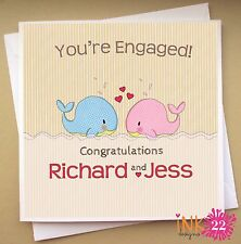 Personalised Cute Handmade Engagement Card 'Whale Couple' Civil Partnership