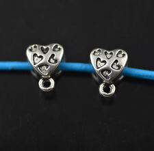 20pcs Bails Heart Connectors European Holder Clasp Fit 4mm Leather Cord New