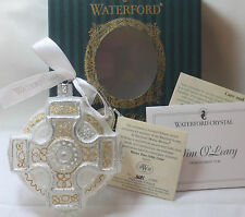 Waterford Gold/White CELTIC CROSS Christmas Ornament *BOXED* Jim O'Leary signed