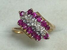 Estate Ruby & Diamond Cluster Ring 10K Yellow Gold Size 4