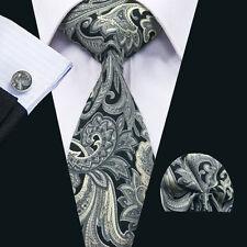 SN-1352 Men's Tie Grey Paisley 100% Cotton Necktie Cufflinks Hanky Set Wedding