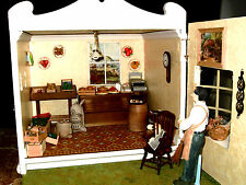HANDCRAFTED WOODEN  GROCER'S SHOP. COMPLETELY FURNISHED. DOLLS HOUSE.MINIATURE
