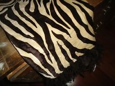 THRO LTD BROWN & CREAM ZEBRA FEATHERED FAUX FUR THROW THROW BLANKET 47 X 59