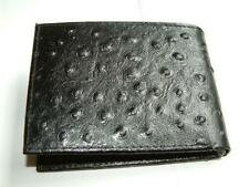 OSTRICH PRINT EMBOSS BIFOLD FLAP CARD MEN'S ID CARD WALLET COWHIDE LEATHER BLACK