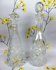 PAIR of great quality vintage hand cut crystal glass DECANTERS. Decanter x 2.