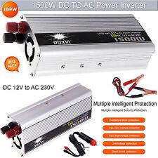 Auto coche inversor de potencia de 1500W (3000W Pico) Dc Cargador Batería modificada 12V a 230V