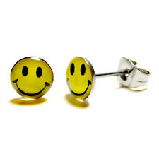 STAINLESS STEEL POST EARRINGS YELLOW SMILEY FACE Studs 70s Retro Happy Emoticon