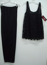 NWT Coquette 3 Piece Pajamas Sleepwear Pants Top Cover Top Size 1X Black #760N