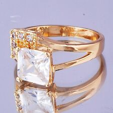 Noble  Womens Ring Yellow Gold Filled Clear  Square CZ  Size 5#D7316